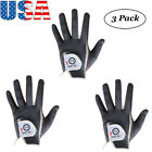 3 Pack Men's Golf Gloves Left Right Hand All Weather Grip Durable Portable
