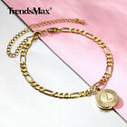 Gold Plated Initial Letter Pendant Stainless Steel Figaro Chain Anklet Bracelet image