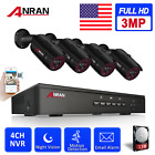 3MP HD Outdoor IP Camera CCTV 4CH NVR Home Security System POE Set 1TB HDD Night