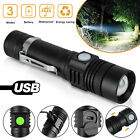 Aluminum Flashlight Zoomable Tactical USB Rechargeable 18650 Torch Super Bright