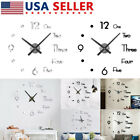 Wall Clock Quartz Stickers 3D Frameless Modern DIY Round Black Living Room Decor