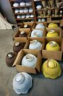 VTG NOS 1970's Yellow/White/Brown Wicker SWAG HANGING W CHAIN Fixture