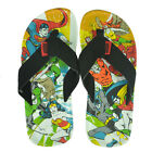 Justice League of America Action Print Super Hero Nubuck Flip Flops Sandals
