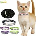 Reflective Leather Customized Cat Collar Personalized ID Collar Engrave Name