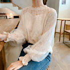 Casual Women Floral Lace Brim Hollow Out Puff Sleeve Mock Neck Top Blouse Shirt