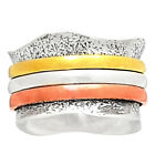 Meditation Spin Ring 925 Sterling Silver Two Tone Jewelry SMR11