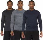 3 Pack: Men's Active Dry Fit Moisture Wicking UV Sun Protection Long Sleeve...