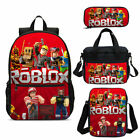 ROBLOX Red Kids Backpack Student School Bag Set Insulated Lunch Bag Pen Bag 4PCS