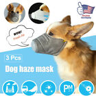 3Pcs Dog Respirator Face Mask Protective Muzzle Pet Mouth Cover Sizes for S/M/L