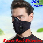Face Mask Reusable Cycling Cover Sport Dual Air Valves + Activated Carbon Filter