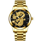 Mens Watches Quartz Stainless Steel Gold Dial Analog Sports Luminous Wrist Watch