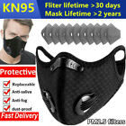 Reusable Face Mask With Breathing Valve Activated Carbon Filters Pad Mouth Cover