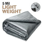 5 Mil Light Duty Poly Tarp Cover All Purpose Canopy Reinforced Tarpaulin Sil/Blk