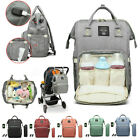 LEQUEEN Waterproof Baby Nappy Diaper Bag Mummy Maternity Pure Color USB Backpack