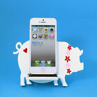 White Pig Smartphone wood stand cellphone Display Home Office Organizer Decor
