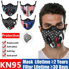 American Flag Facemask W/double Air Purifying Valve Carbon Filter Pad Respirator