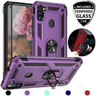 For Samsung Galaxy A11 Ring Case Magnetic Support Metal Stand +tempered Glass