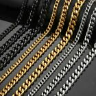 """6/9/11mm Stainless Steel Curb Cuban Link Chain Necklace Men Boys Jewelry 18-30"""""""