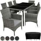 Garden Furniture Set Poly Rattan 8 Chairs Table Glass Patio Slipcover New