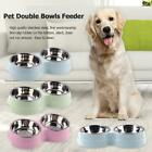 Dog Double Bowl Puppy Food Water Feeder Stainless Steel Pet Drinking Dish Supply