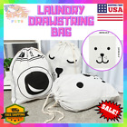 Canvas Laundry Drawstring Bag Storage Sack For Toys Shoes Laundry Travel Clothes