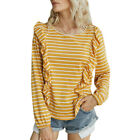 Womens Casual Sweater T-shirt Autumn Long Sleeve Ruffle Striped Blouse Tops Tee