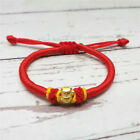 Pure 999 GOLD 24K Yellow Gold Cat Bead Bracelet Lucky Red Cord Bracelet
