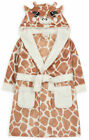 Girls Dressing Gown Kids New Novelty Giraffe Hooded Soft Fleece Robe Age 2-13 Yr