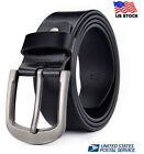 Mens Genuine Leather Real Belt Belts Casual with Pin Buckle Brown Black US Stock