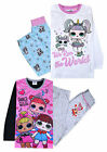 Girls Pyjamas Set LOL Glitter Cotton Long Sleeved PJ Set Pink Black Age 2-10 Yrs