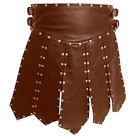 Mens Real Cowhide Leather Brown Heavy Duty Gladiator Pleated Kilt Halloween LARP