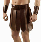Mens Real Cowhide Leather Brown Heavy Duty Gladiator Kilt Set Halloween LARP