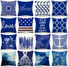 Velvet Cushion Cover Blue White Double-sided Soft Sofa Throw Pillow Case 18x18""