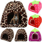 Soft Strawberry Pet Dog Fleece House Washable Igloo Bed Pyramid Cosy Cozy Kennel