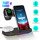 3 In1 Qi Wireless Fast Charger Charging LED Station Stand For iPhone Apple Watch