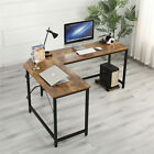 L Shaped Computer Desk Large Corner Gaming Office Writing PC Table Steel & Wood