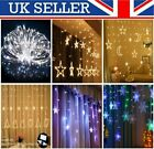 Star+Moon+Snowflake+Bell+LED+Curtain+Fairy+String+lights+Party+Christmas+Lamp+UK