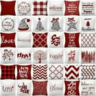 Pillow Cover Christmas Decorative Red White Bed 2-sided Xmas Cushion Case 18x18""