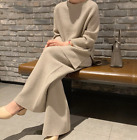 Women Wool Knitted Sweater Wide-legs Pants 2Pcs Loose Thick Warm Suit Casual S