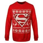 DC Comics Superman Christmas Jumper Sweater - Unisex Red Xmas Holiday