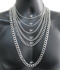 """Stainless Steel Cuban Curb Chain Silver 16""""-30"""" Men Choker Necklace 3/5/7/9/11mmNecklaces & Pendants - 155101"""