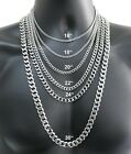 Stainless Steel Cuban Curb Chain Silver 16'-30' Men Choker Necklace 3/5/7/9/11mm