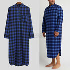 Men's Soft Long Sleeve Pajamas Bathrobe Nightshirt Kaftan Night Gown Robe Dress