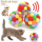Pet Toys Cat Dog Plush Bouncy Ball Colorful Handmade Rolling Balls Playing Train