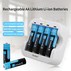 Hixon Lot Rechargeable 3500mWh AA Batteries 1.5V Li-ion Lithium Battery Charger