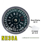 NH36/NH36A Kanji Black Date Wheel Automatic Movement Date at 3 Crown at 3.8