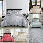 Jacquard Quilted Bedspread Comforter Throw 3 Piece Bedding Set Double King Size