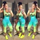 Womens 2 Pcs Sport Suit Pink Letter Stretchy Fitness Tank Tops Pants Outfits Set