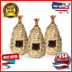 3 Pack Hummingbird House Hand Woven Hanging Bird Nest Outside Grass Birdhouse photo