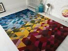 ILLUSION KINGSTON HAND TUFTED WOOL SOFT GEOMETRIC THICK QUALITY RUG IN MULTI
